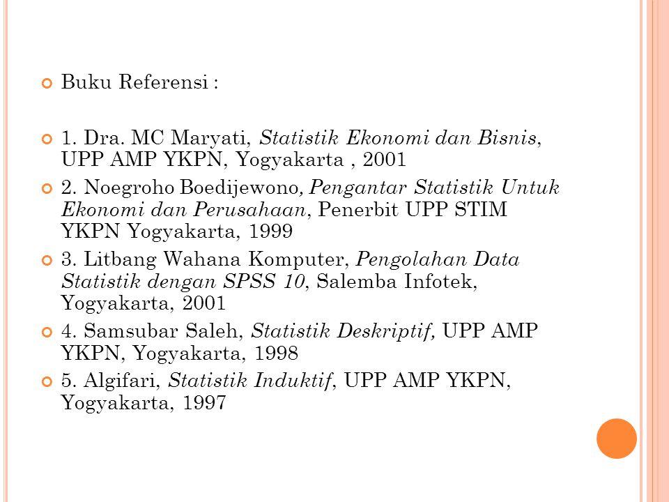 Buku Referensi : 1. Dra. MC Maryati, S tatistik Ekonomi dan Bisnis, UPP AMP YKPN, Yogyakarta, 2001 2. Noegroho Boedijewono, Pengantar Statistik Untuk