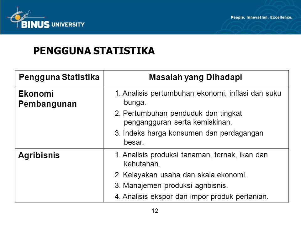 12 PENGGUNA STATISTIKA Pengguna StatistikaMasalah yang Dihadapi Ekonomi Pembangunan 1.