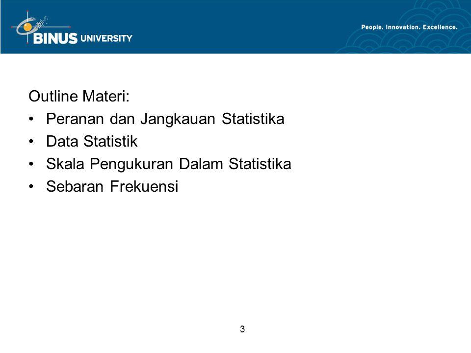 3 Outline Materi: Peranan dan Jangkauan Statistika Data Statistik Skala Pengukuran Dalam Statistika Sebaran Frekuensi