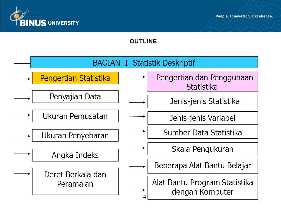 4 OUTLINE BAGIAN I Statistik Deskriptif Pengertian dan Penggunaan Statistika Jenis-jenis Statistika Jenis-jenis Variabel Sumber Data Statistika Skala Pengukuran Beberapa Alat Bantu Belajar Alat Bantu Program Statistika dengan Komputer Pengertian Statistika Penyajian Data Ukuran Penyebaran Ukuran Pemusatan Angka Indeks Deret Berkala dan Peramalan