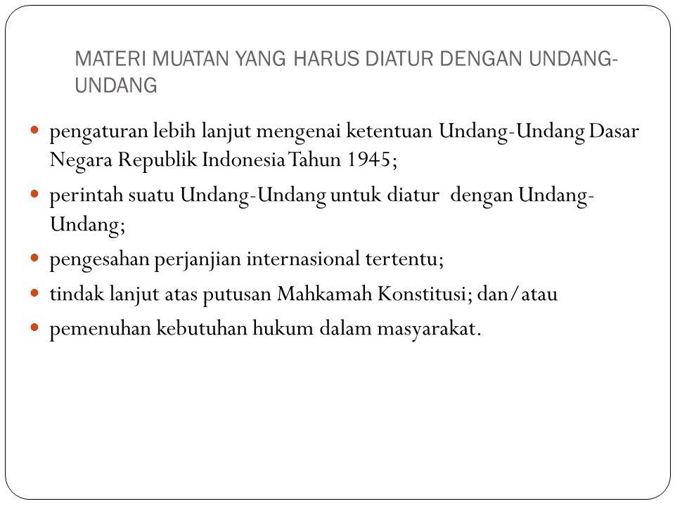 MATERI MUATAN YANG HARUS DIATUR DENGAN UNDANG- UNDANG pengaturan lebih lanjut mengenai ketentuan Undang-Undang Dasar Negara Republik Indonesia Tahun 1