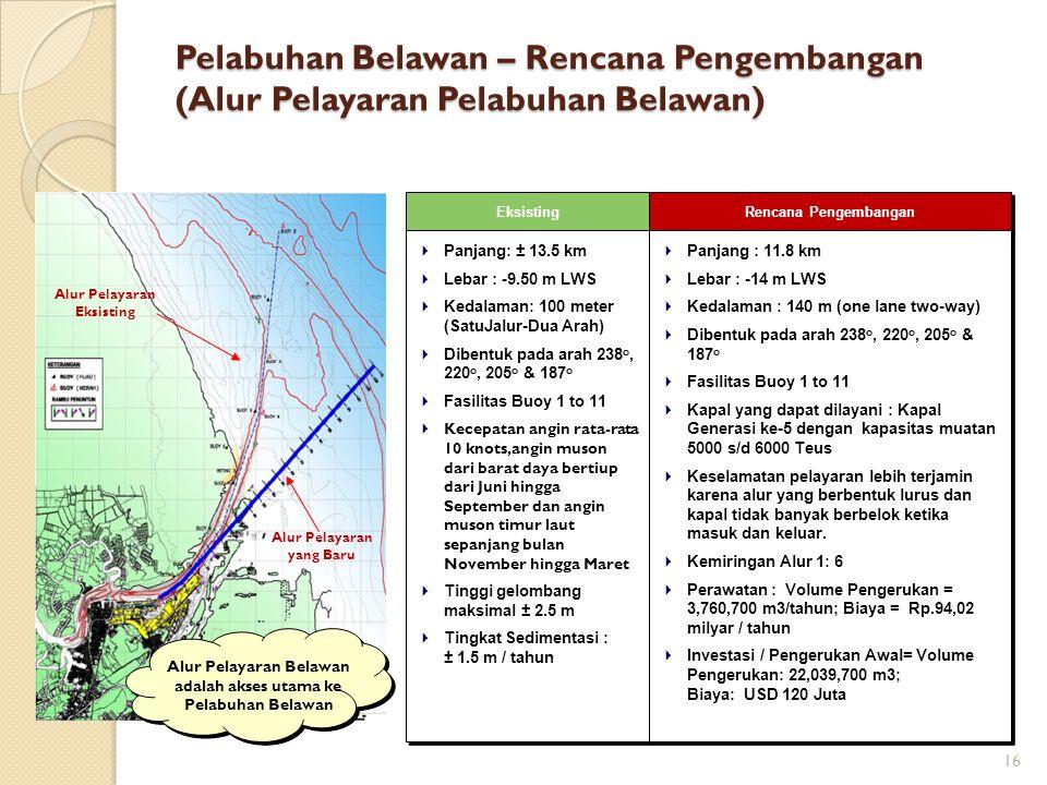 Alur Pelayaran yang Baru Alur Pelayaran Eksisting Eksisting  Panjang: ± 13.5 km  Lebar : -9.50 m LWS  Kedalaman: 100 meter (SatuJalur-Dua Arah)  D
