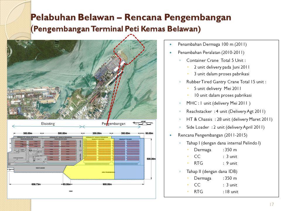 Pelabuhan Belawan – Rencana Pengembangan ( Pengembangan Terminal Peti Kemas Belawan) Penambahan Dermaga 100 m (2011) Penambahan Peralatan (2010-2011)