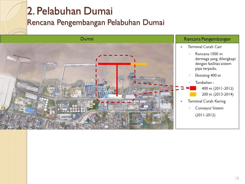 2. Pelabuhan Dumai Rencana Pengembangan Pelabuhan Dumai Terminal Curah Cair ◦ Rencana 1000 m dermaga yang dilengkapi dengan fasilitas sistem pipa terp
