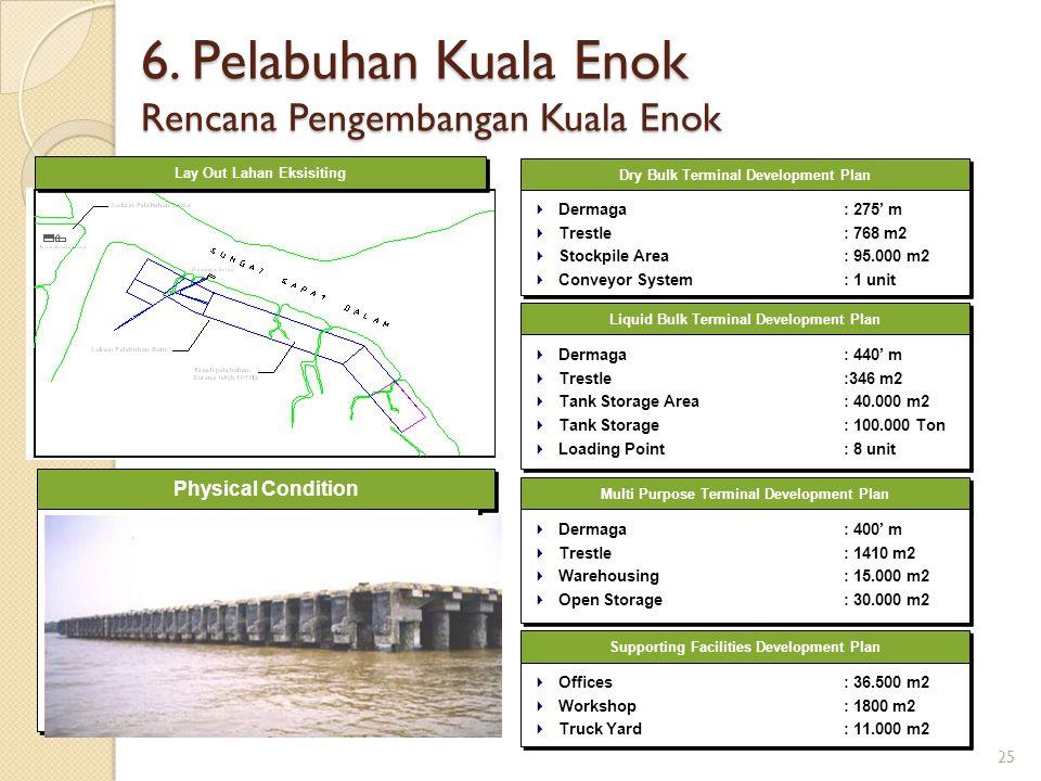 Physical Condition 6. Pelabuhan Kuala Enok Rencana Pengembangan Kuala Enok Dry Bulk Terminal Development Plan  Dermaga : 275' m  Trestle: 768 m2  S