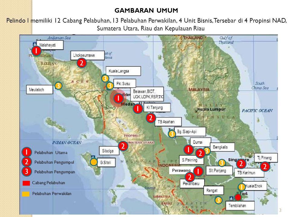 ,TC 3 3 GAMBARAN UMUM Pelindo I memiliki 12 Cabang Pelabuhan, 13 Pelabuhan Perwakilan, 4 Unit Bisnis, Tersebar di 4 Propinsi NAD, Sumatera Utara, Riau