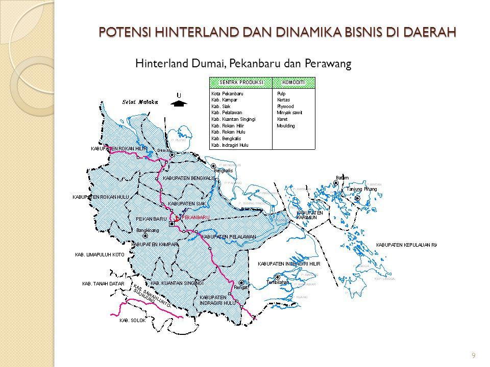 POTENSI HINTERLAND DAN DINAMIKA BISNIS DI DAERAH 9 Hinterland Dumai, Pekanbaru dan Perawang