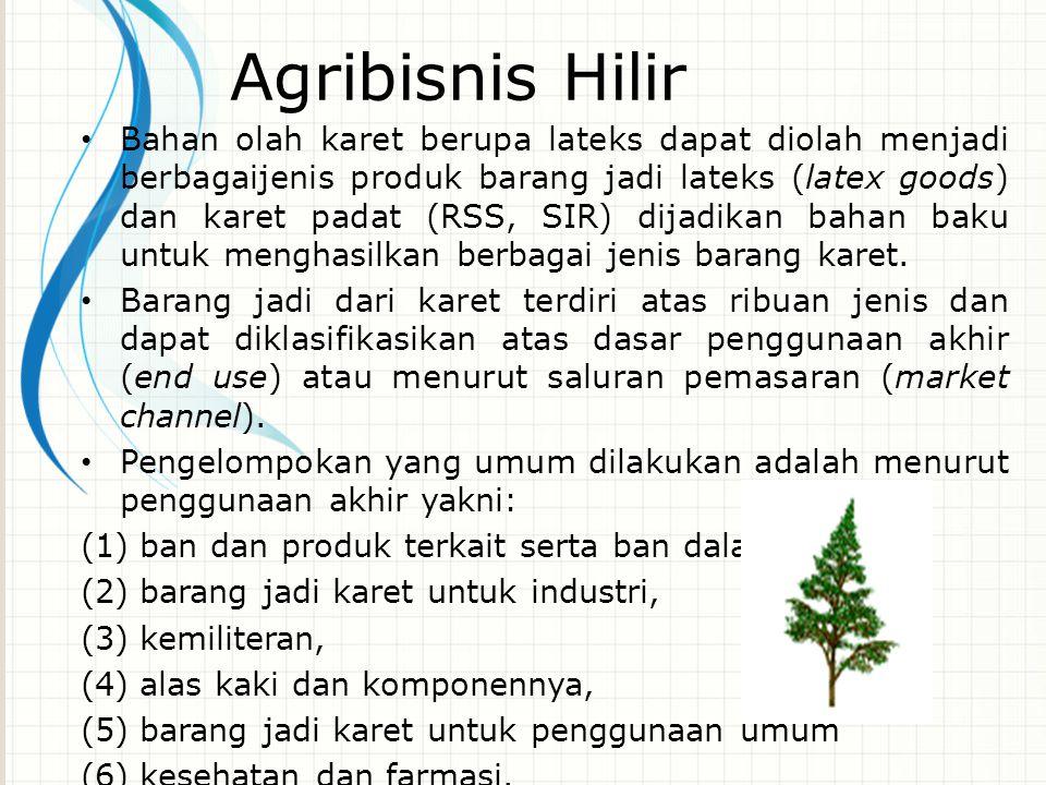 Agribisnis Hilir Bahan olah karet berupa lateks dapat diolah menjadi berbagaijenis produk barang jadi lateks (latex goods) dan karet padat (RSS, SIR)