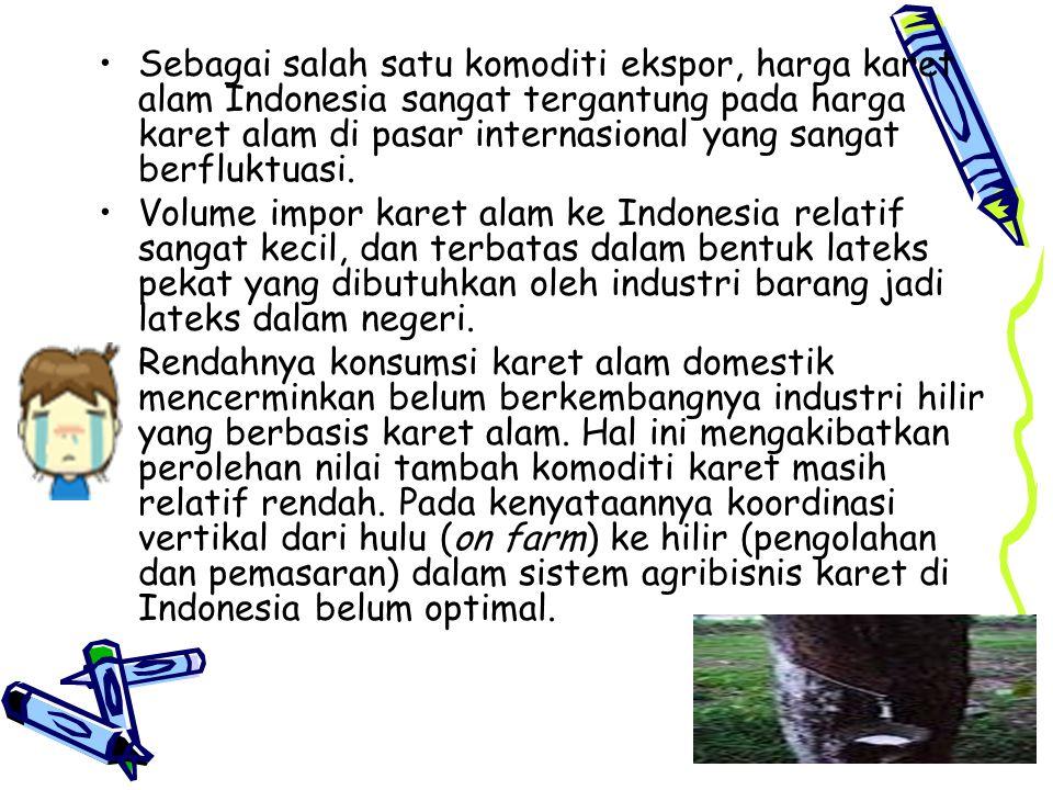 Sebagai salah satu komoditi ekspor, harga karet alam Indonesia sangat tergantung pada harga karet alam di pasar internasional yang sangat berfluktuasi.