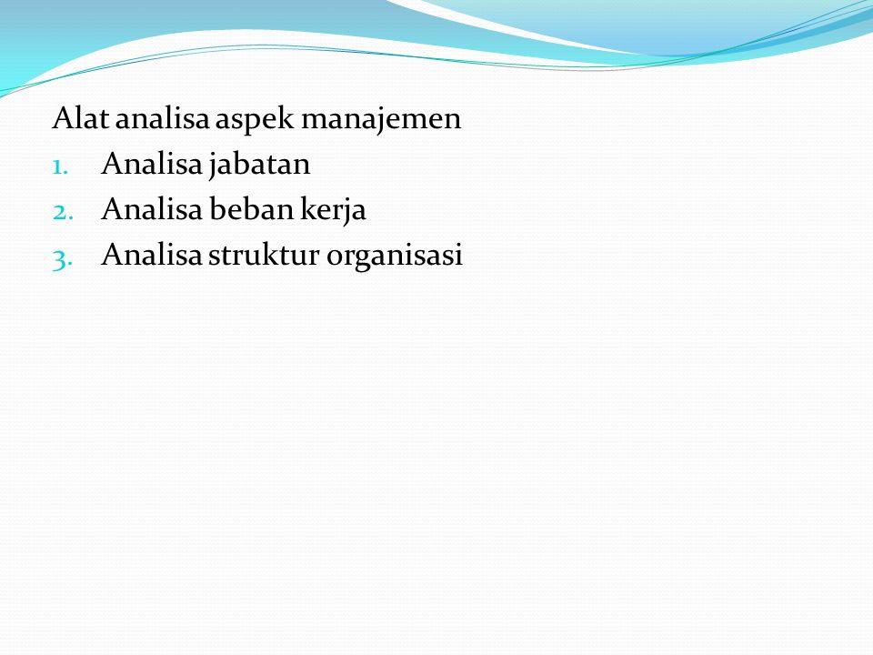 Alat analisa aspek manajemen 1. Analisa jabatan 2. Analisa beban kerja 3. Analisa struktur organisasi