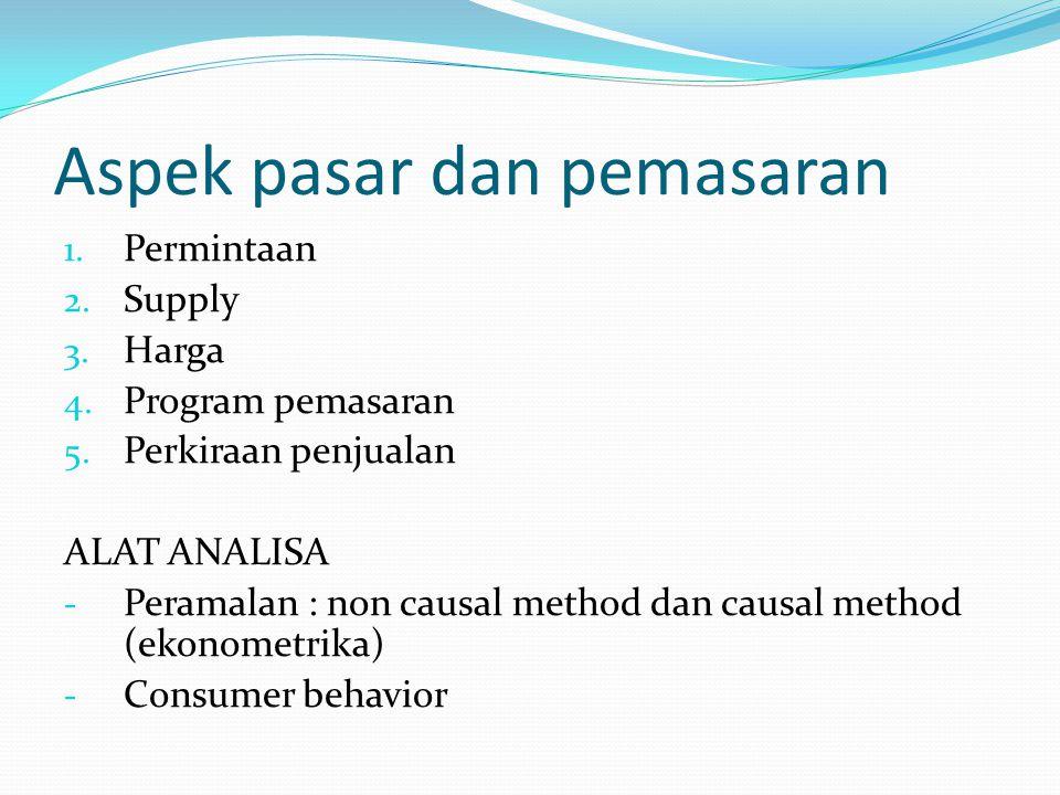 1. Permintaan 2. Supply 3. Harga 4. Program pemasaran 5. Perkiraan penjualan ALAT ANALISA - Peramalan : non causal method dan causal method (ekonometr