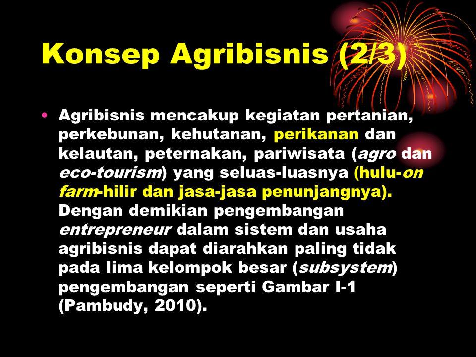 Konsep Agribisnis (2/3) Agribisnis mencakup kegiatan pertanian, perkebunan, kehutanan, perikanan dan kelautan, peternakan, pariwisata (agro dan eco-tourism) yang seluas-luasnya (hulu-on farm-hilir dan jasa-jasa penunjangnya).