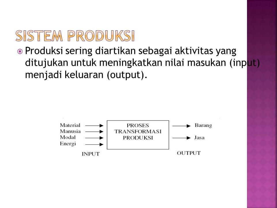  Produksi sering diartikan sebagai aktivitas yang ditujukan untuk meningkatkan nilai masukan (input) menjadi keluaran (output).