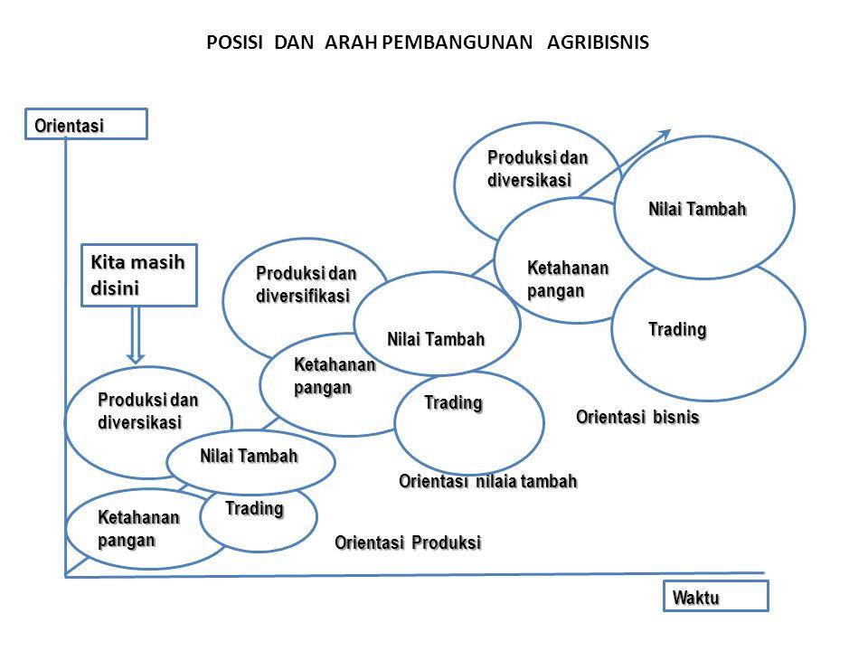 POSISI DAN ARAH PEMBANGUNAN AGRIBISNIS Produksi dan diversikasi Produksi dan diversifikasi Produksi dan diversikasi Waktu Orientasi Ketahanan pangan T