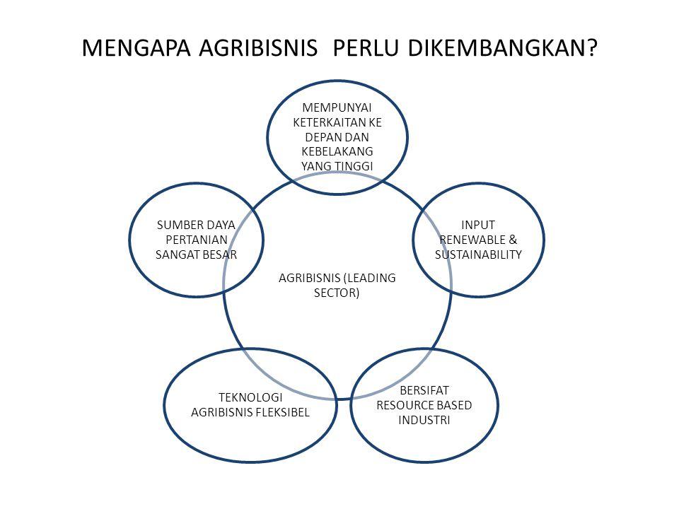 MENGAPA AGRIBISNIS PERLU DIKEMBANGKAN? AGRIBISNIS (LEADING SECTOR) MEMPUNYAI KETERKAITAN KE DEPAN DAN KEBELAKANG YANG TINGGI INPUT RENEWABLE & SUSTAIN