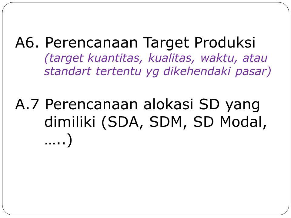 A6. Perencanaan Target Produksi (target kuantitas, kualitas, waktu, atau standart tertentu yg dikehendaki pasar) A.7 Perencanaan alokasi SD yang dimil