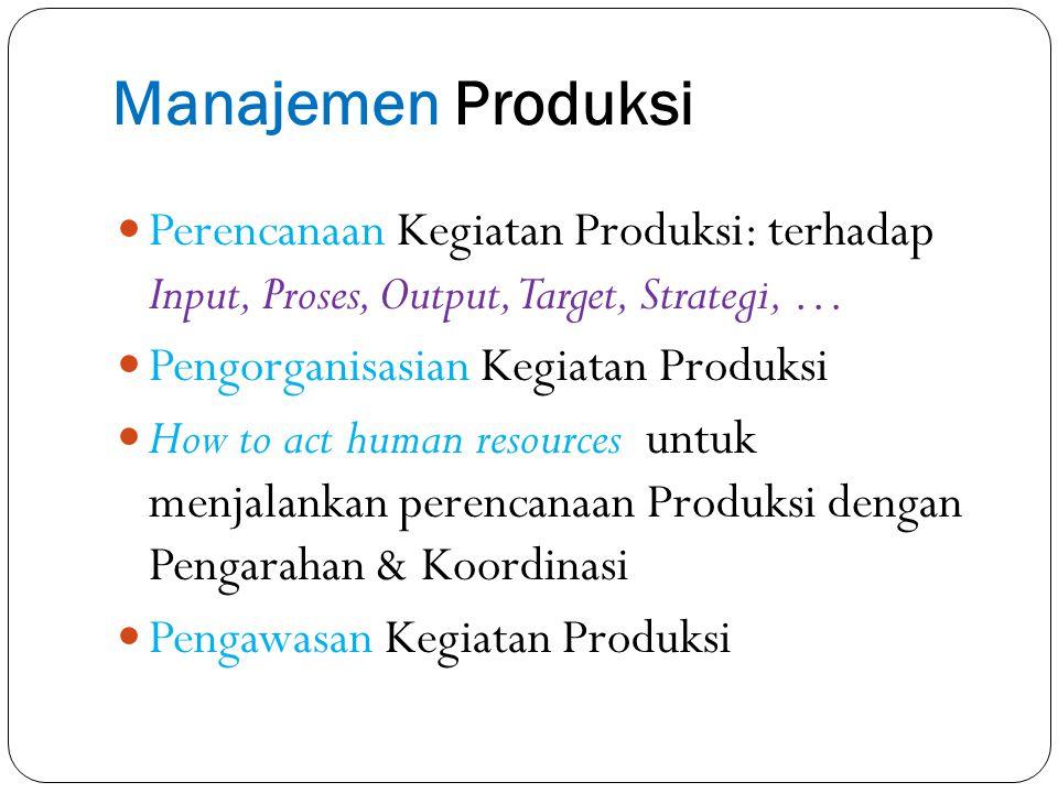 Manajemen Produksi terkait dengan berbagai fungsi: Fungsi personalia Fungsi keuangan Fungsi pengadaan dan penyimpanan Fungsi research and development (R&D) Dll