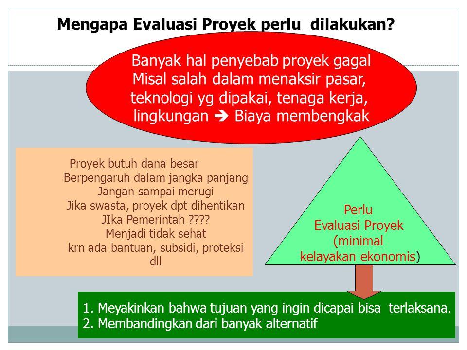 Mengapa Evaluasi Proyek perlu dilakukan? Proyek butuh dana besar Berpengaruh dalam jangka panjang Jangan sampai merugi Jika swasta, proyek dpt dihenti