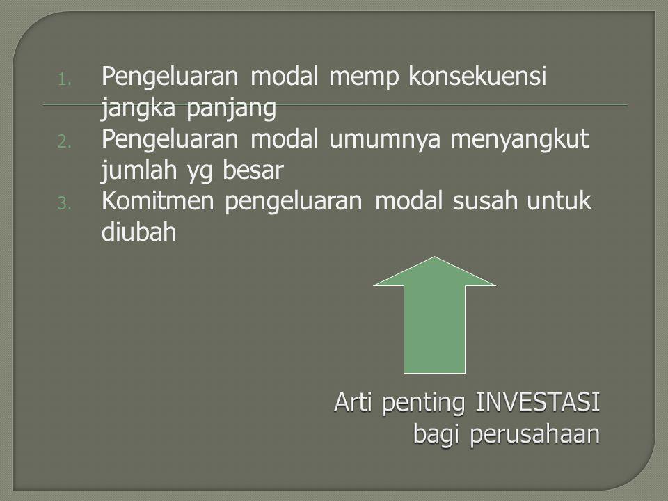 1. Pengeluaran modal memp konsekuensi jangka panjang 2. Pengeluaran modal umumnya menyangkut jumlah yg besar 3. Komitmen pengeluaran modal susah untuk