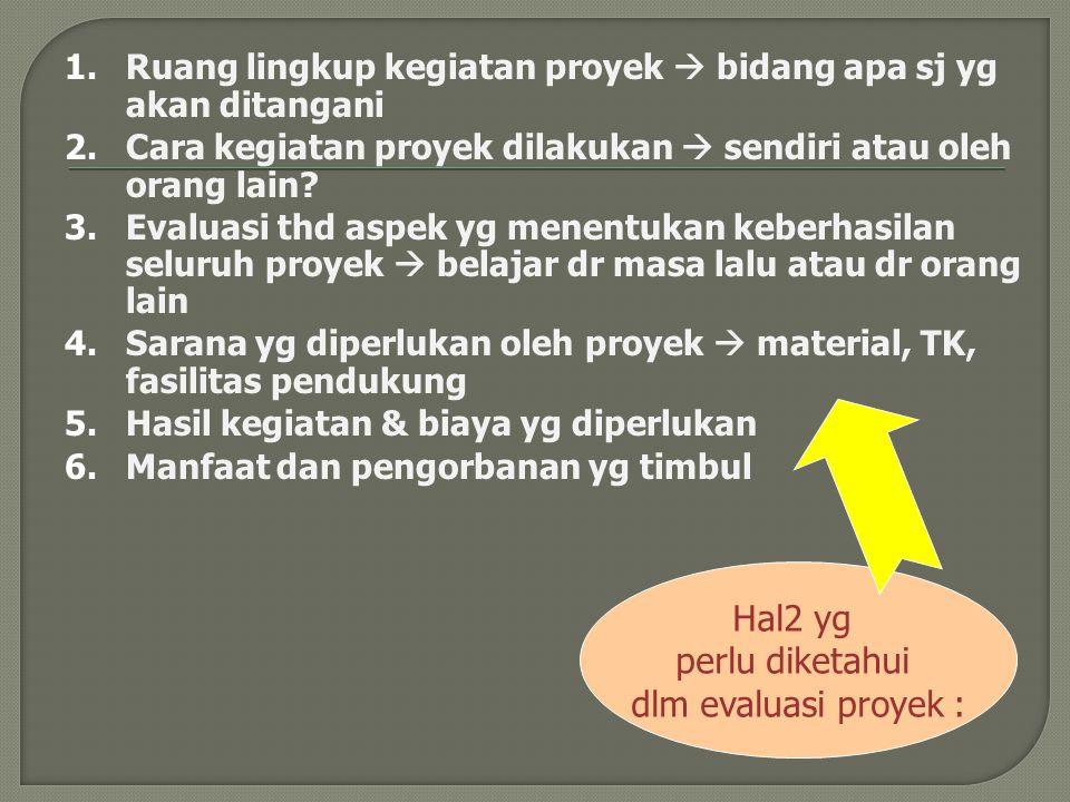 1.Ruang lingkup kegiatan proyek  bidang apa sj yg akan ditangani 2.Cara kegiatan proyek dilakukan  sendiri atau oleh orang lain? 3.Evaluasi thd aspe