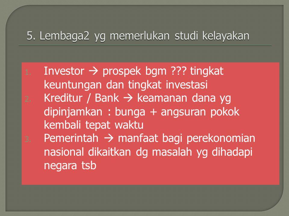 1. Investor  prospek bgm ??? tingkat keuntungan dan tingkat investasi 2. Kreditur / Bank  keamanan dana yg dipinjamkan : bunga + angsuran pokok kemb