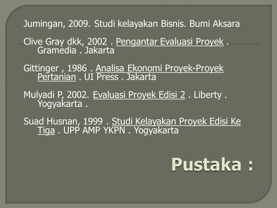 Jumingan, 2009. Studi kelayakan Bisnis. Bumi Aksara Clive Gray dkk, 2002. Pengantar Evaluasi Proyek. Gramedia. Jakarta Gittinger, 1986. Analisa Ekonom