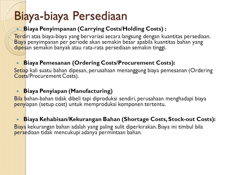 Biaya-biaya Persediaan Biaya Penyimpanan (Carrying Costs/Holding Costs) : Terdiri atas biaya-biaya yang bervariasi secara langsung dengan kuantitas persediaan.