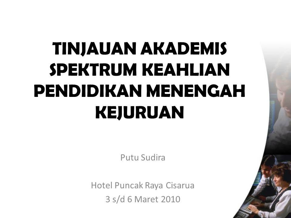 TINJAUAN AKADEMIS SPEKTRUM KEAHLIAN PENDIDIKAN MENENGAH KEJURUAN Putu Sudira Hotel Puncak Raya Cisarua 3 s/d 6 Maret 2010