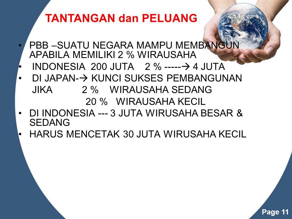 Powerpoint Templates Page 11 PBB –SUATU NEGARA MAMPU MEMBANGUN APABILA MEMILIKI 2 % WIRAUSAHA INDONESIA 200 JUTA 2 % -----  4 JUTA DI JAPAN-  KUNCI SUKSES PEMBANGUNAN JIKA 2 % WIRAUSAHA SEDANG 20 % WIRAUSAHA KECIL DI INDONESIA --- 3 JUTA WIRUSAHA BESAR & SEDANG HARUS MENCETAK 30 JUTA WIRUSAHA KECIL TANTANGAN dan PELUANG