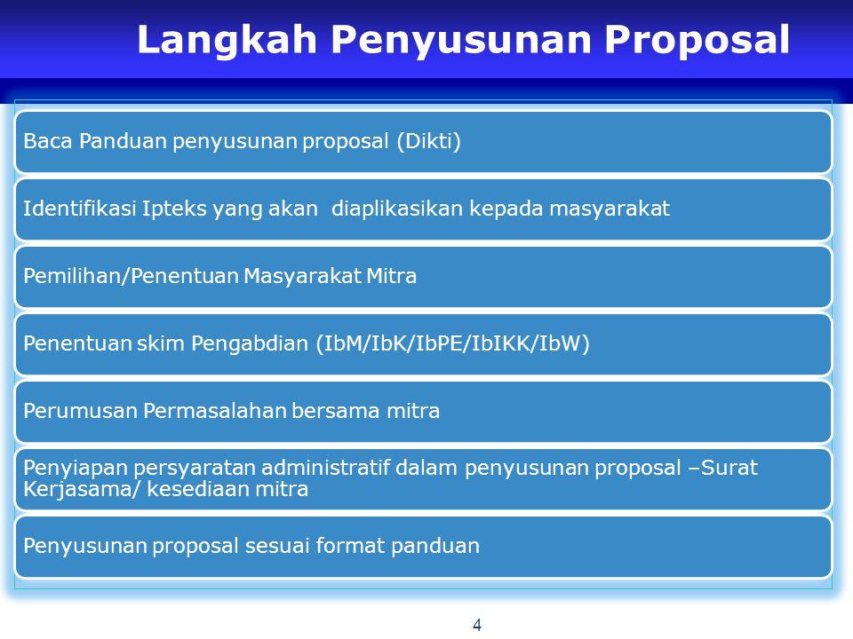 Langkah Penyusunan Proposal Baca Panduan penyusunan proposal (Dikti) Identifikasi Ipteks yang akan diaplikasikan kepada masyarakat Pemilihan/Penentuan Masyarakat Mitra Penentuan skim Pengabdian (IbM/IbK/IbPE/IbIKK/IbW) Perumusan Permasalahan bersama mitra Penyiapan persyaratan administratif dalam penyusunan proposal –Surat Kerjasama/ kesediaan mitra Penyusunan proposal sesuai format panduan 4