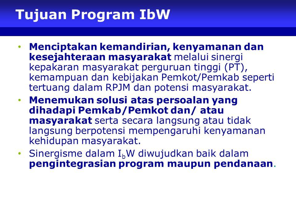 Tujuan Program IbW Menciptakan kemandirian, kenyamanan dan kesejahteraan masyarakat melalui sinergi kepakaran masyarakat perguruan tinggi (PT), kemampuan dan kebijakan Pemkot/Pemkab seperti tertuang dalam RPJM dan potensi masyarakat.