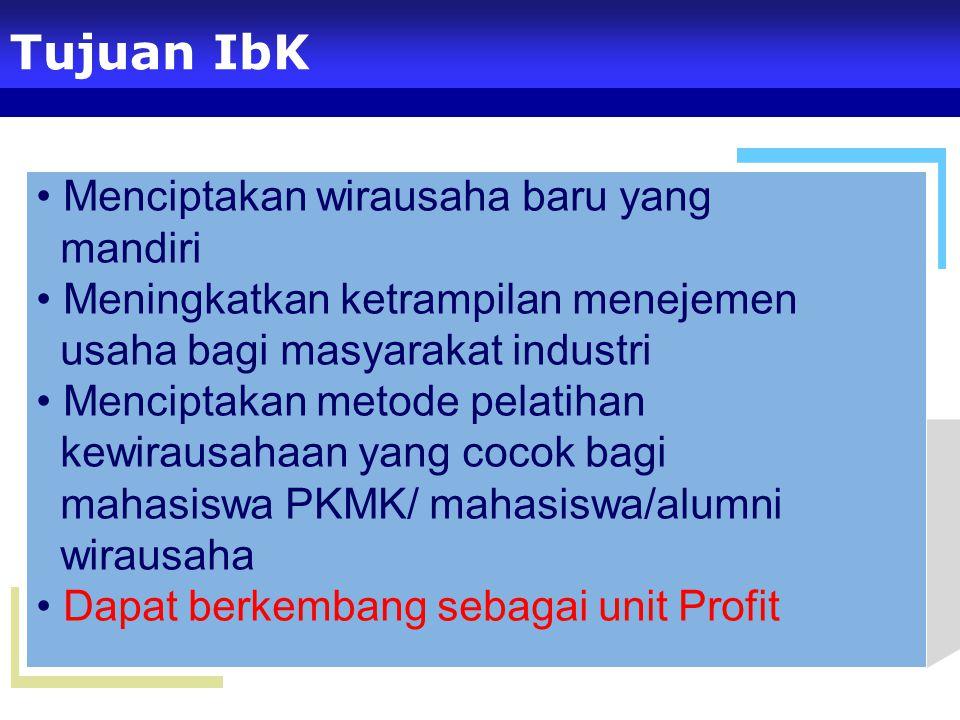 Menciptakan wirausaha baru yang mandiri Meningkatkan ketrampilan menejemen usaha bagi masyarakat industri Menciptakan metode pelatihan kewirausahaan yang cocok bagi mahasiswa PKMK/ mahasiswa/alumni wirausaha Dapat berkembang sebagai unit Profit Tujuan IbK