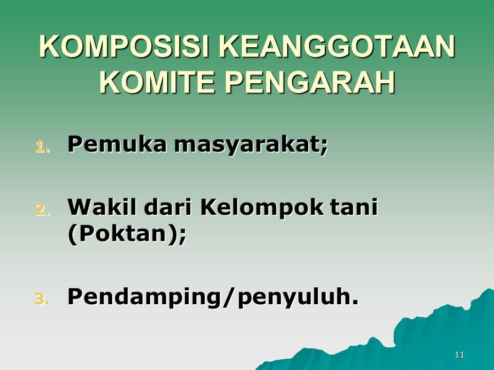 11 KOMPOSISI KEANGGOTAAN KOMITE PENGARAH 1. Pemuka masyarakat; 2. Wakil dari Kelompok tani (Poktan); 3. Pendamping/penyuluh.