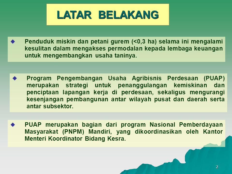 2 LATAR BELAKANG  PUAP merupakan bagian dari program Nasional Pemberdayaan Masyarakat (PNPM) Mandiri, yang dikoordinasikan oleh Kantor Menteri Koordi