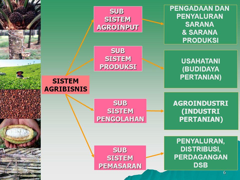 6 SISTEM AGRIBISNIS SUBSISTEMPRODUKSI PENGADAAN DAN PENYALURAN SARANA & SARANA PRODUKSI USAHATANI (BUDIDAYA PERTANIAN) AGROINDUSTRI (INDUSTRI PERTANIA