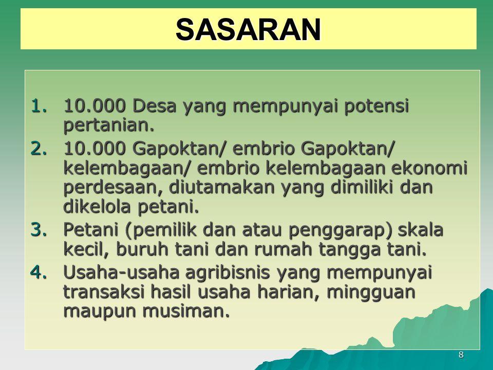 8 SASARAN 1.10.000 Desa yang mempunyai potensi pertanian. 2.10.000 Gapoktan/ embrio Gapoktan/ kelembagaan/ embrio kelembagaan ekonomi perdesaan, diuta