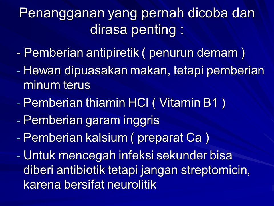 - Pemberian antipiretik ( penurun demam ) - Hewan dipuasakan makan, tetapi pemberian minum terus - Pemberian thiamin HCl ( Vitamin B1 ) - Pemberian garam inggris - Pemberian kalsium ( preparat Ca ) - Untuk mencegah infeksi sekunder bisa diberi antibiotik tetapi jangan streptomicin, karena bersifat neurolitik Penangganan yang pernah dicoba dan dirasa penting : Penangganan yang pernah dicoba dan dirasa penting :