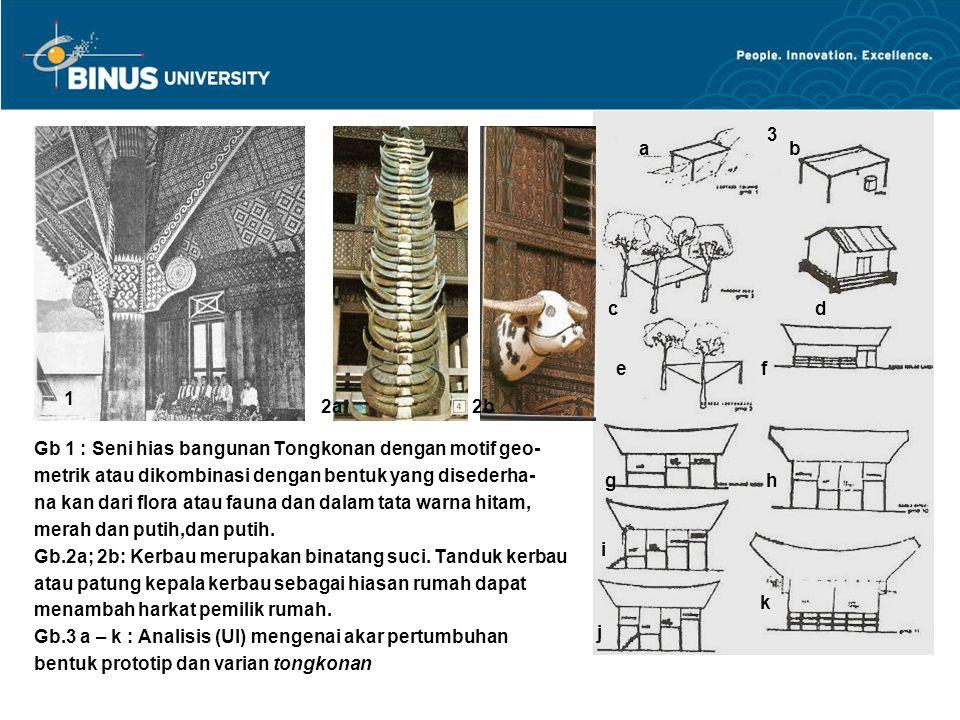 Gb 1 : Seni hias bangunan Tongkonan dengan motif geo- metrik atau dikombinasi dengan bentuk yang disederha- na kan dari flora atau fauna dan dalam tat