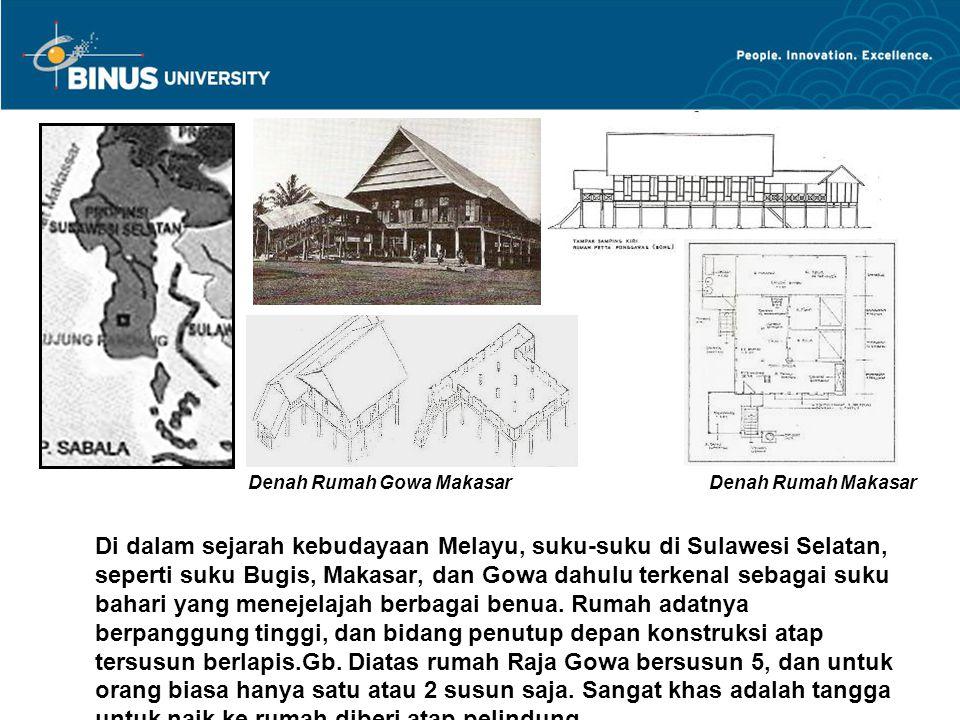 Gb.1 Rumah bangsawan Bugis disebut Saoraja / Balla Lumpo Gb.2 Rumah adat Makasar diberi hiasan silang di ujung bubung atapnya yang melam- bangkan tanduk kerbau.