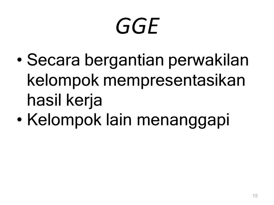 GGE Secara bergantian perwakilan kelompok mempresentasikan hasil kerja Kelompok lain menanggapi 15