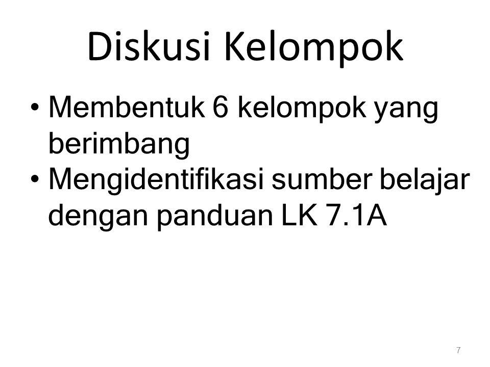 Diskusi Kelompok Membentuk 6 kelompok yang berimbang Mengidentifikasi sumber belajar dengan panduan LK 7.1A 7