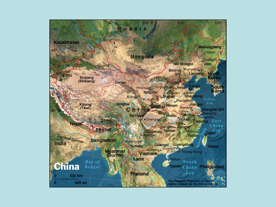 Wilayah dan Penduduk -Bagian timur Benua Asia -Tepi barat Laut Pasifik -Luas: 9.561.040 km2 -Rentang jarak: U 5.200km B 5.500 km