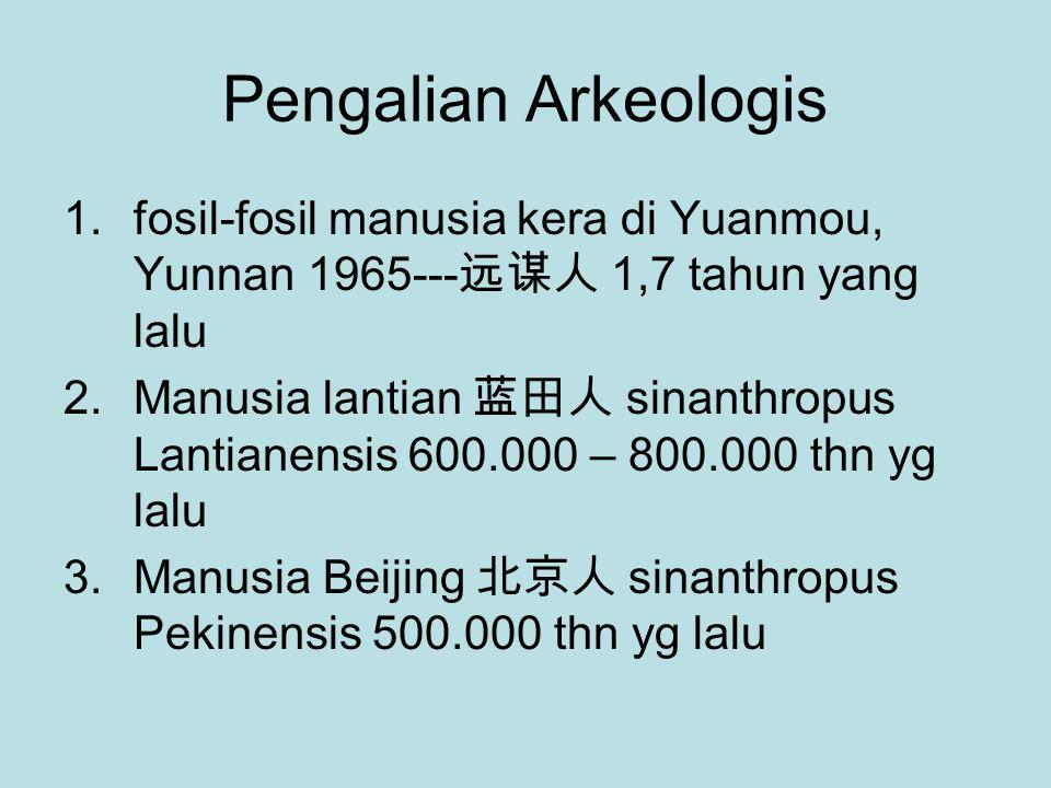 Pengalian Arkeologis 1.fosil-fosil manusia kera di Yuanmou, Yunnan 1965--- 远谋人 1,7 tahun yang lalu 2.Manusia lantian 蓝田人 sinanthropus Lantianensis 600.000 – 800.000 thn yg lalu 3.Manusia Beijing 北京人 sinanthropus Pekinensis 500.000 thn yg lalu