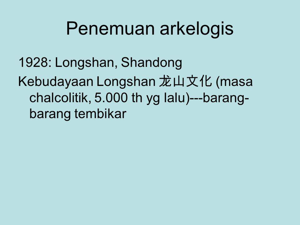Penemuan arkelogis 1928: Longshan, Shandong Kebudayaan Longshan 龙山文化 (masa chalcolitik, 5.000 th yg lalu)---barang- barang tembikar