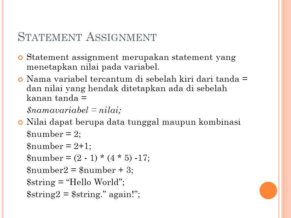 S TATEMENT A SSIGNMENT Statement assignment merupakan statement yang menetapkan nilai pada variabel. Nama variabel tercantum di sebelah kiri dari tand