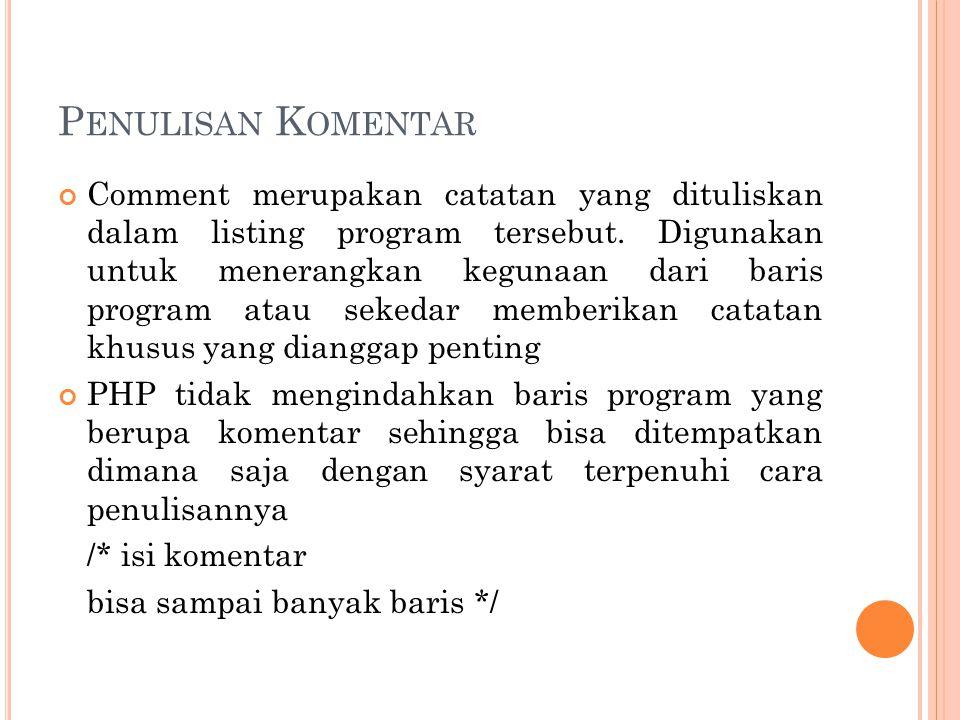 P ENULISAN K OMENTAR Comment merupakan catatan yang dituliskan dalam listing program tersebut. Digunakan untuk menerangkan kegunaan dari baris program