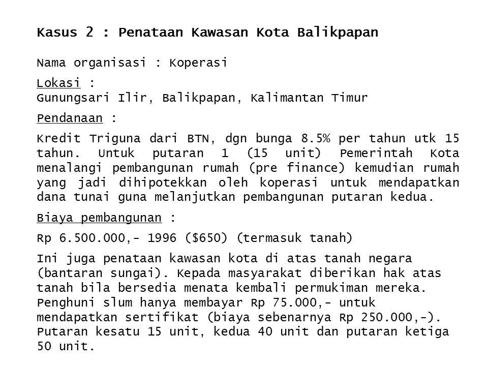 Kasus 2 : Penataan Kawasan Kota Balikpapan Nama organisasi : Koperasi Lokasi : Gunungsari Ilir, Balikpapan, Kalimantan Timur Pendanaan : Kredit Trigun