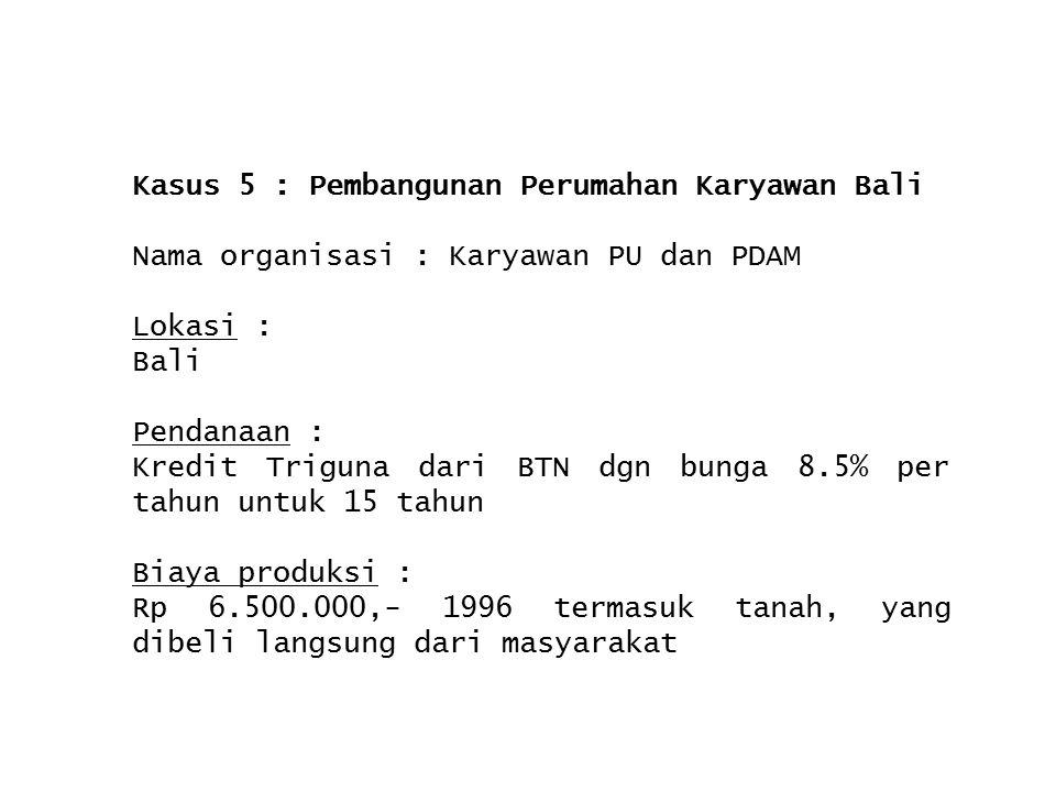 Kasus 5 : Pembangunan Perumahan Karyawan Bali Nama organisasi : Karyawan PU dan PDAM Lokasi : Bali Pendanaan : Kredit Triguna dari BTN dgn bunga 8.5%