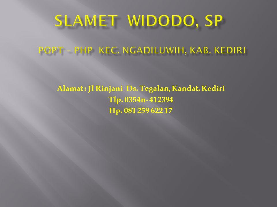 Alamat : Jl Rinjani Ds. Tegalan, Kandat. Kediri Tlp. 0354n- 412394 Hp. 081 259 622 17