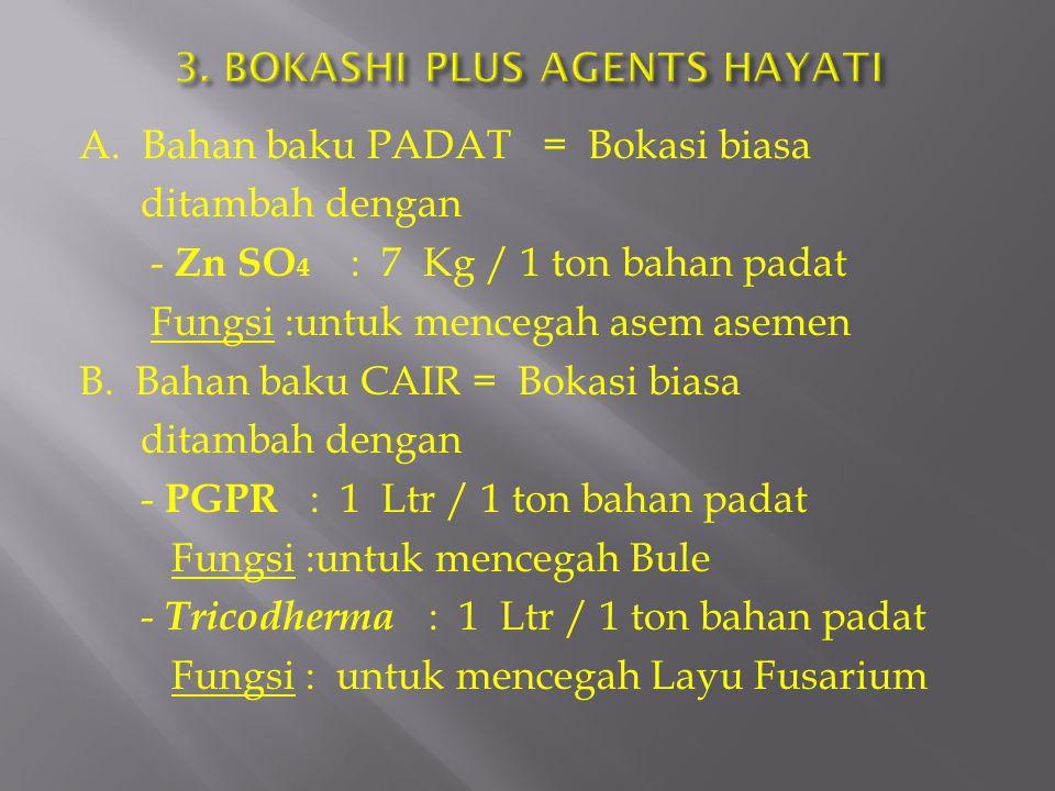 A. Bahan baku PADAT = Bokasi biasa ditambah dengan - Zn SO 4 : 7 Kg / 1 ton bahan padat Fungsi :untuk mencegah asem asemen B. Bahan baku CAIR = Bokasi